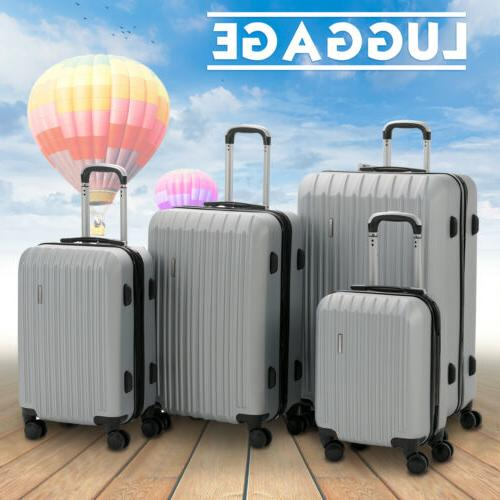 4 piece abs luggage set light travel