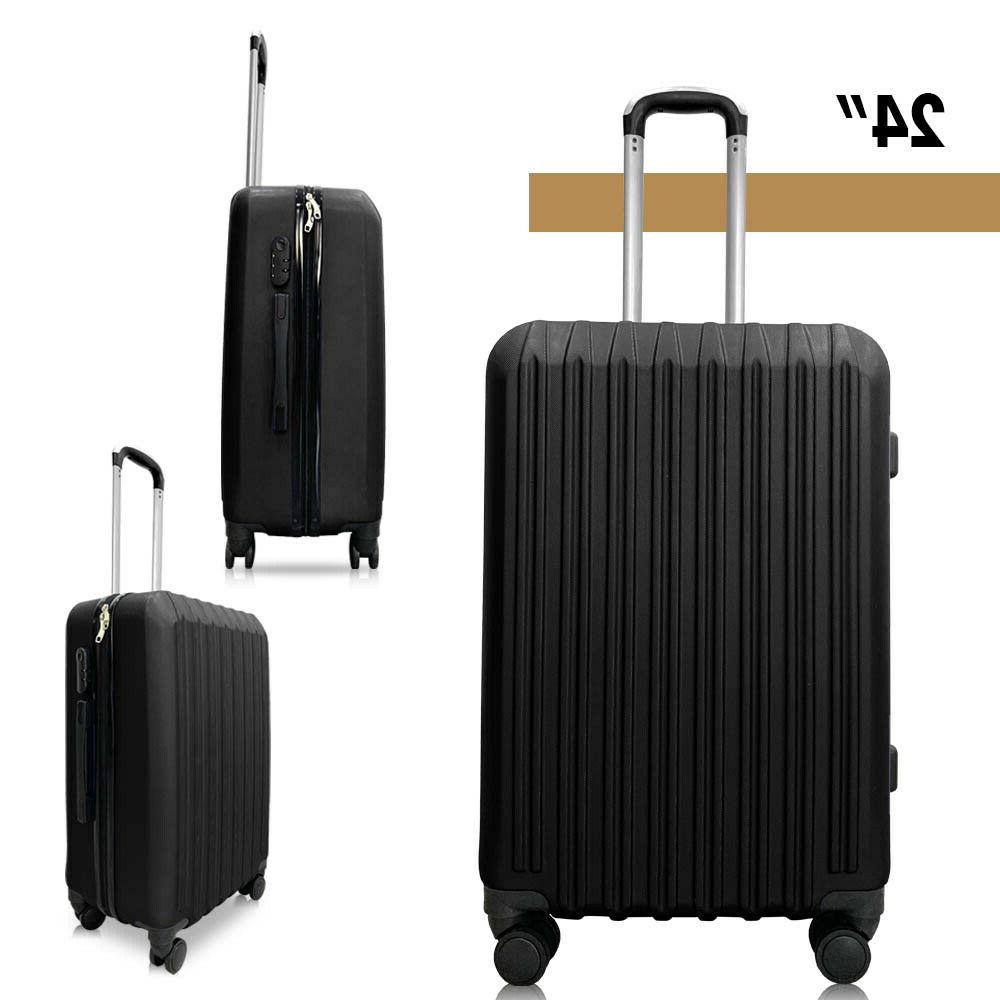 4 Piece Luggage Trolley Travel ABS Hardside Nested Black