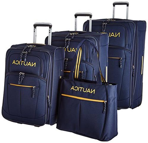 4 piece spinner luggage set navy yellow