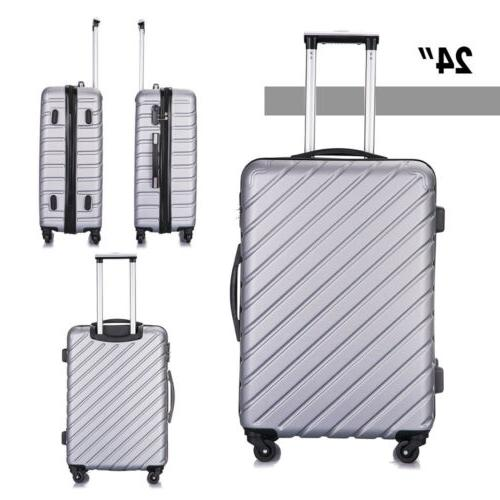 4PCS Hard Trolley Spinner Business Silver