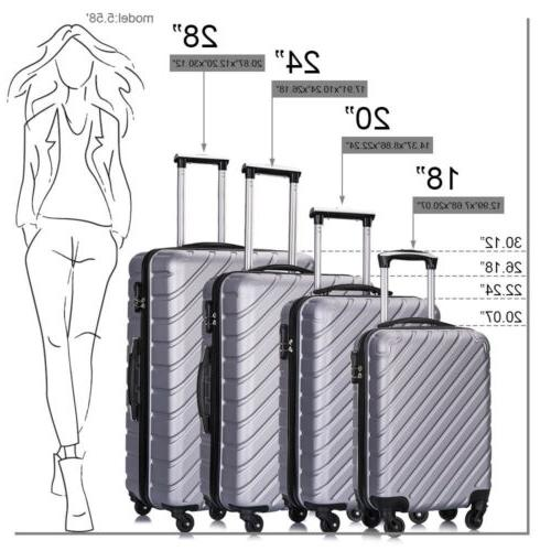 3/4/5Pcs Travel Luggage Set Bag Spinner Suitcase ABS w/Lock
