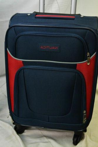 $460 New Nautica 5 Piece Spinner Suitcase Blue Soft