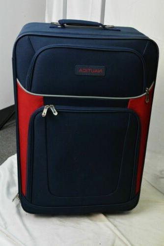 $460 New Nautica 5 Luggage Spinner Blue Soft