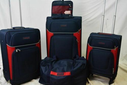 $460 Nautica 5 Set Spinner Suitcase Red Soft