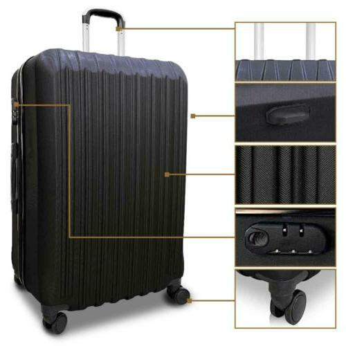 4Pcs Travel Bag ABS Trolley Suitcase 16-28 inch Black
