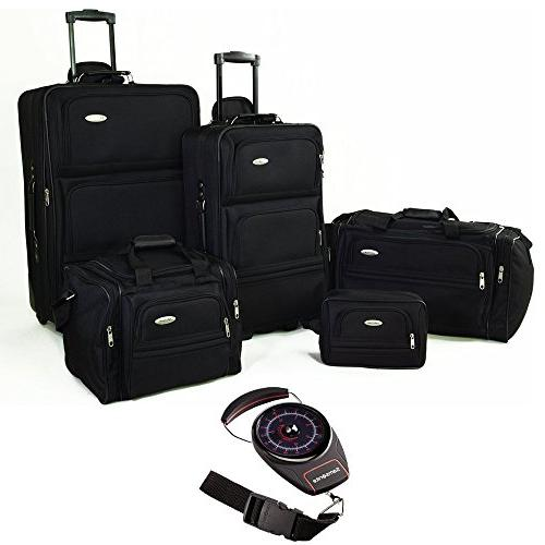 5 piece nested luggage set black 17386
