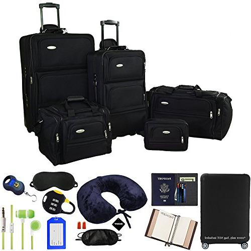 5 piece nested luggage set black