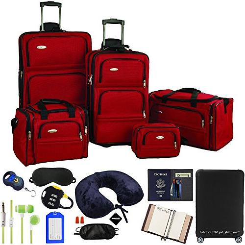 5 piece nested luggage set red