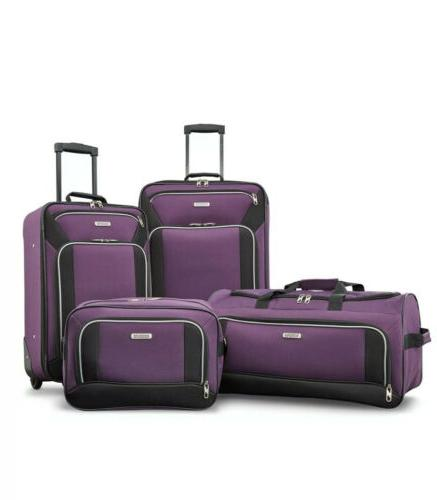 American Tourister Fieldbrook XLT 4pc Set , Purple/Black