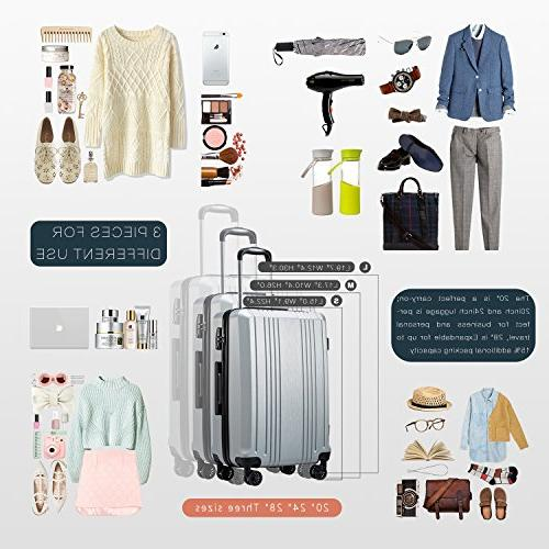 Coolife Suitcase PC+ABS 3 Piece Set with 20in24in28in