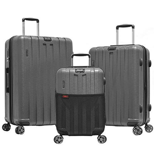 Olympia Sidewinder 3 Piece Luggage Set 21/25/29 Inch, Gray