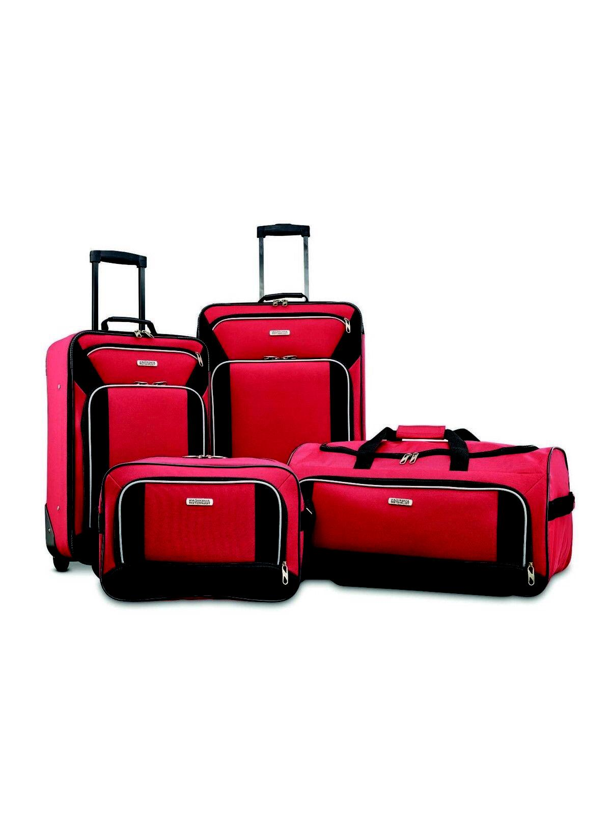 Red Piece Rolling Skate Wheels Suitcases Duffel Bag
