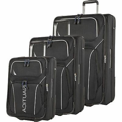airdale 3 piece expandable luggage set black