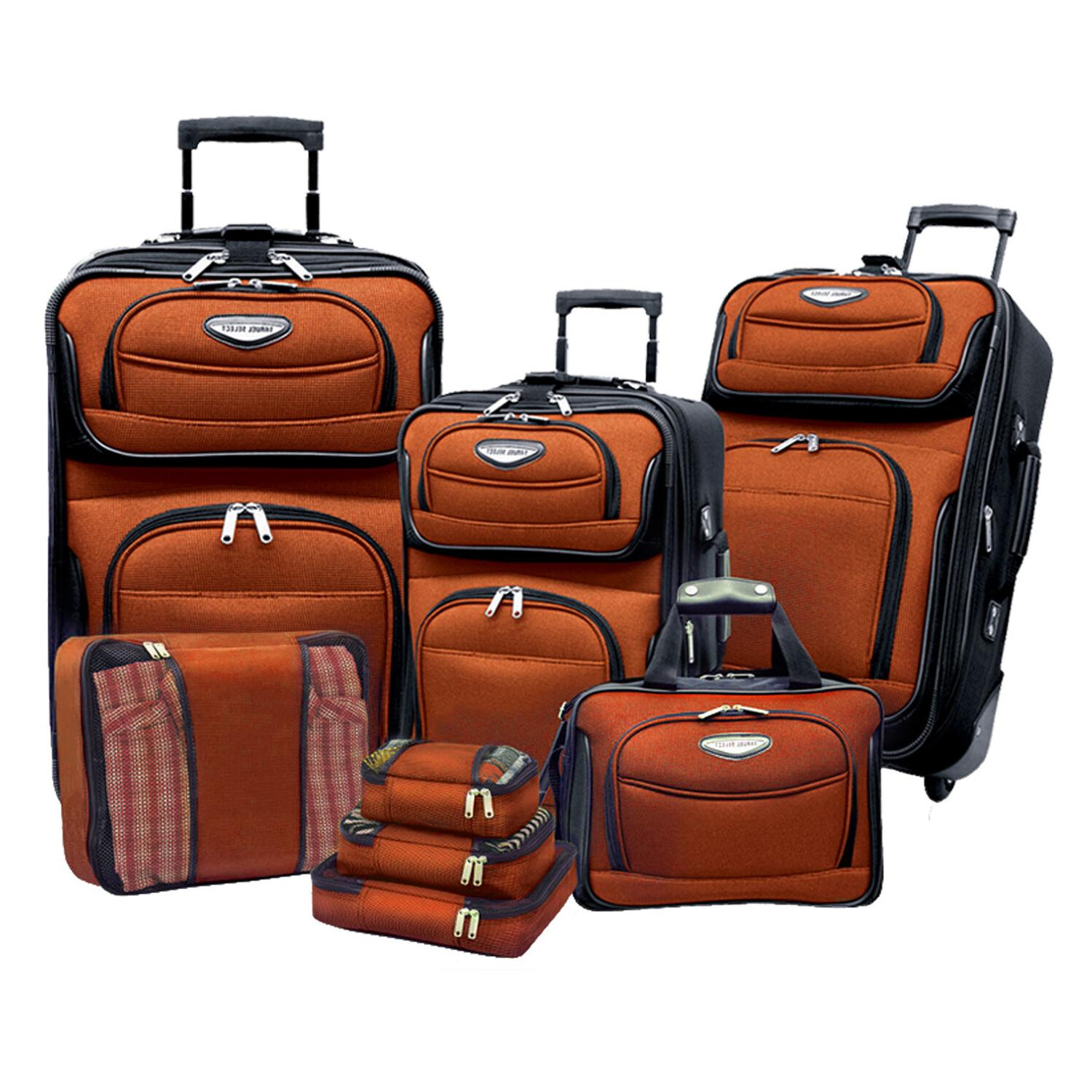 Amsterdam 8-Piece Light Rolling Luggage Bag Travel
