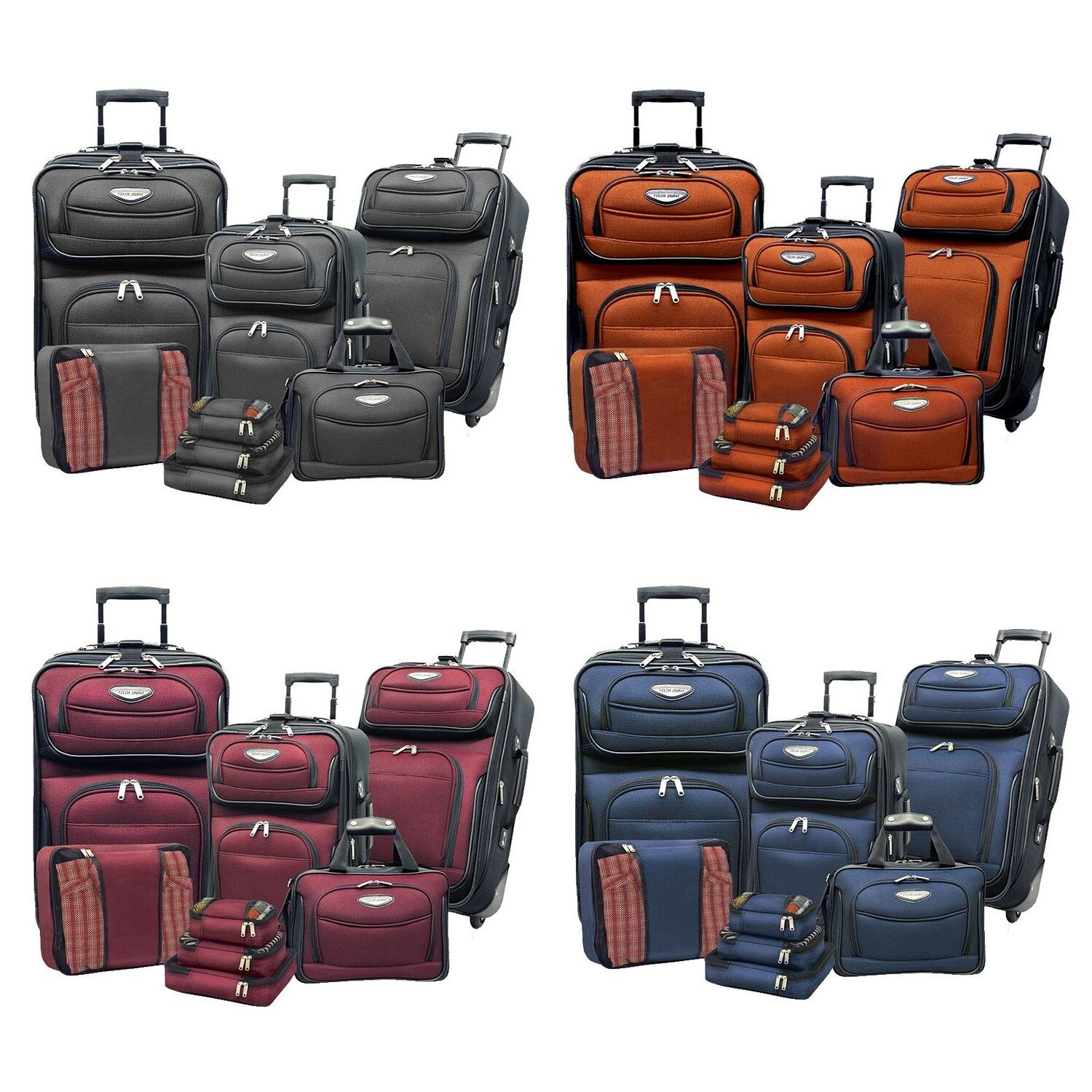 amsterdam 8 piece light expandable rolling luggage