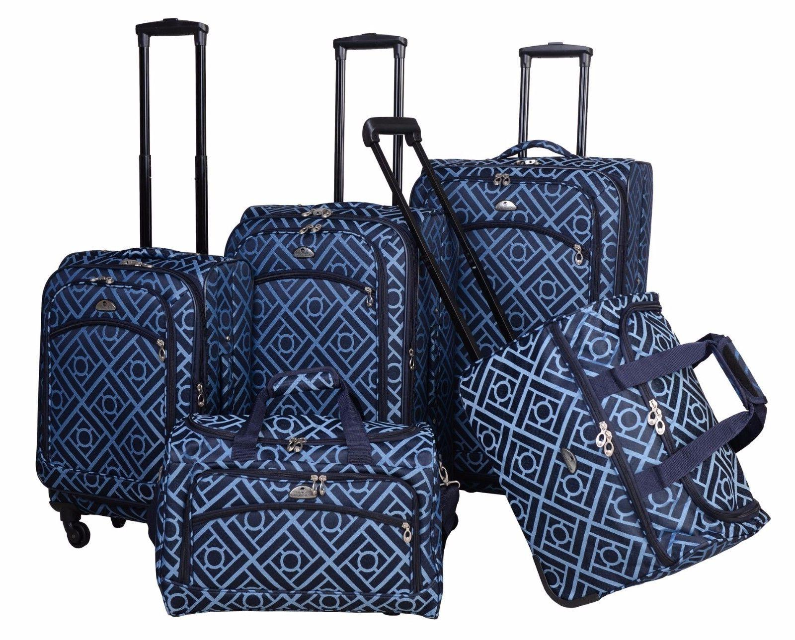 astor 5 piece spinner luggage set blue