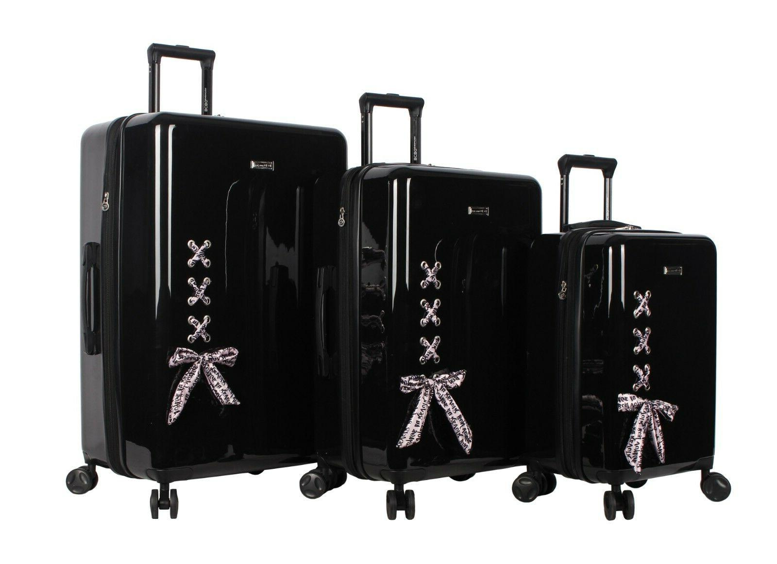bcbg luggage hardside 3 piece suitcase set