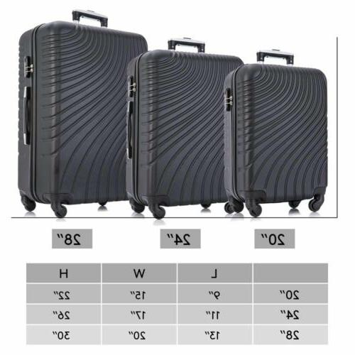 Black Set of Luggage Trolley ABS Suitcase