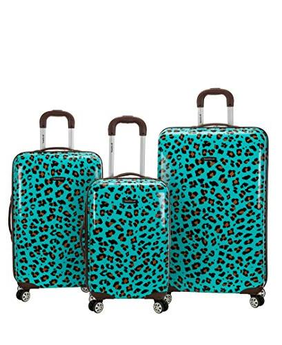 blue leopard abs upright luggage