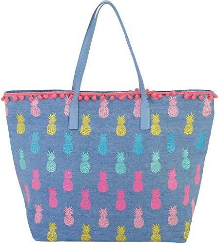 blue pineapple beach bag tote one size
