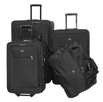 brooklyn collection black 4 pc luggage set
