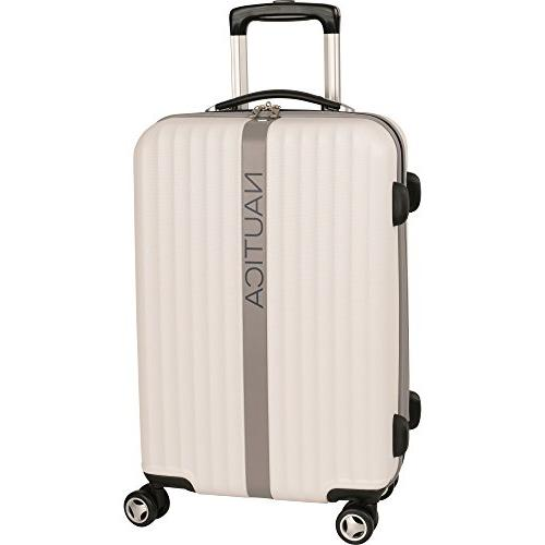 carry on hardside expandable spinner luggage white