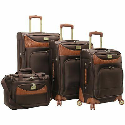 castaway 4 piece spinner luggage set chocolate