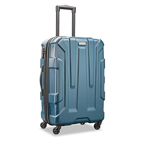 centric expandable hardside checked luggage with spinner