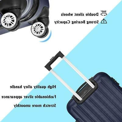 Classy 3 Luggage Wheels 360°Rolling Suitcase Navy Blue US