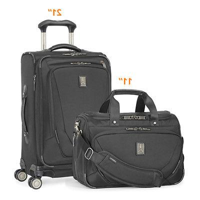 Crew11 21 Spinn/DeluxeTote -Black 2 Piece Luggage Set