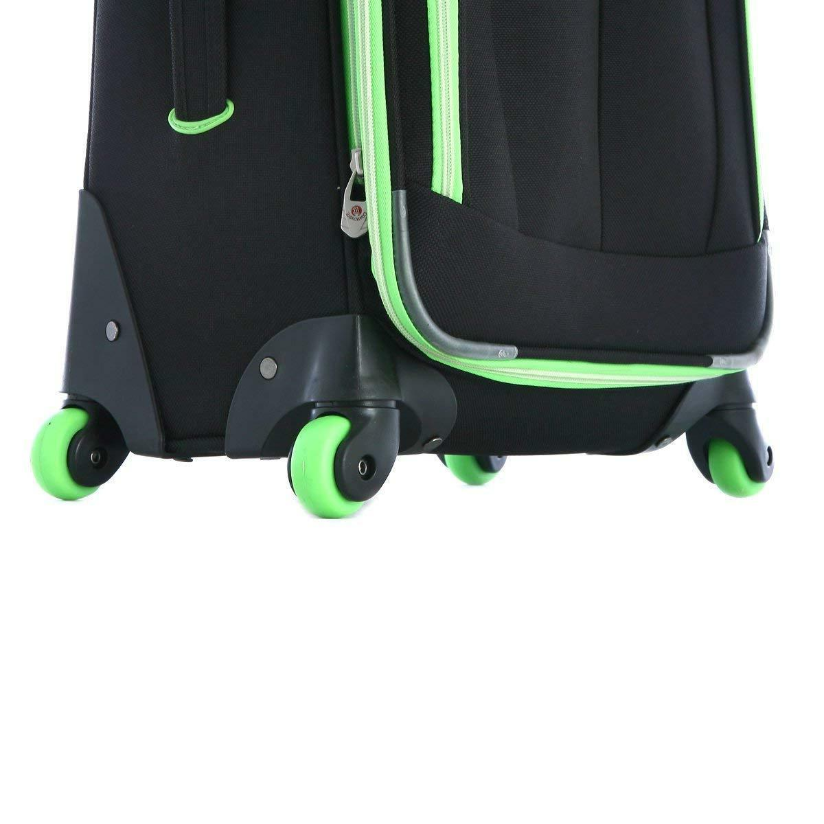 Olympia Evansville Luggage Set-Black Lime color