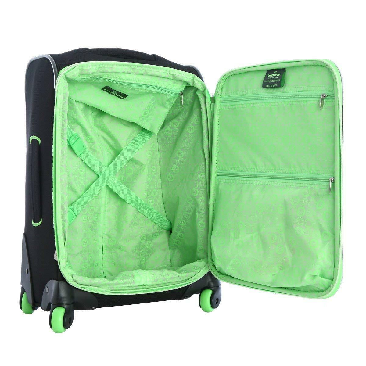 Olympia Evansville Luggage Set-Black and Lime
