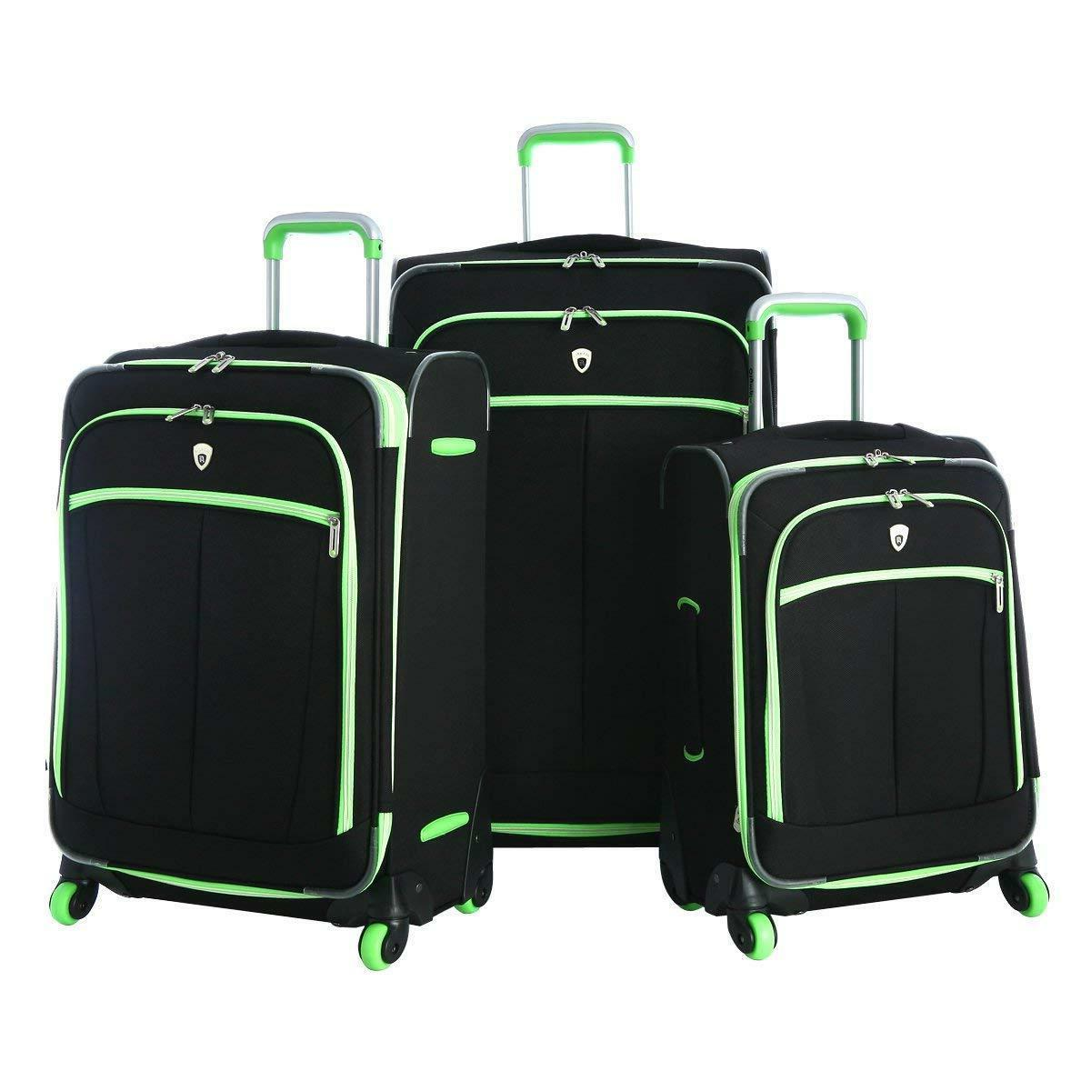 evansville 3pc luggage set black and lime