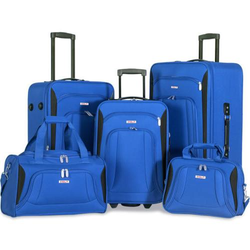 5 piece luggage set deluxe expandable rolling