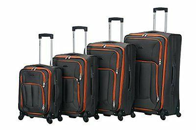 ROCKLAND FOX LUGGAGE F155-CHARCOAL 4PC IMPACT SPINNER LUGGAG