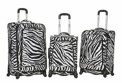 fusion 3 piece luggage set polyester zebra