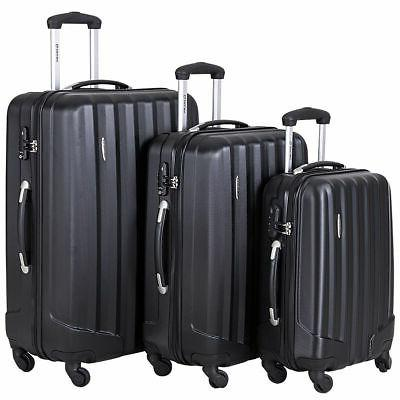3 Pcs Luggage Trolley Black US