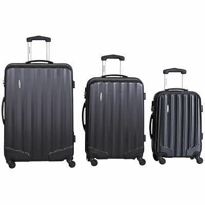 3 Pcs Travel Bag Trolley w/TSA Lock Black