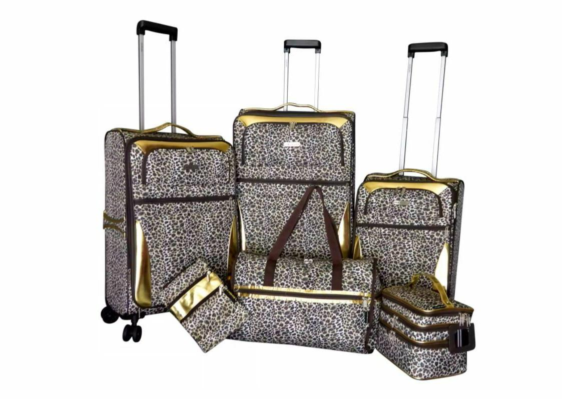 gold leopard 6 pc expandable spinner luggage