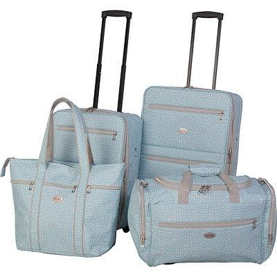 greek key 4 piece rolling luggage set