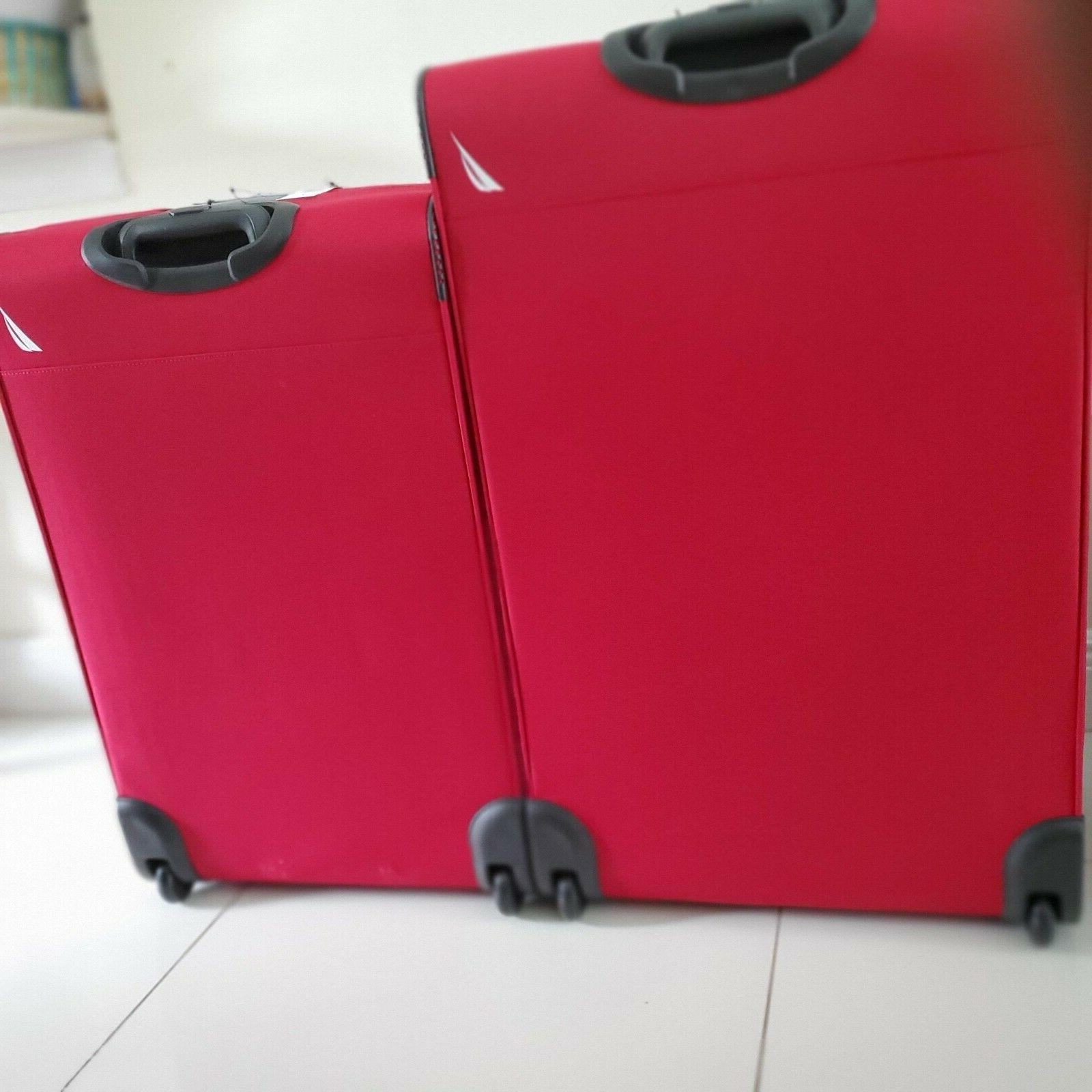 Nautica Hayes Point Red Luggage Set Suitcases