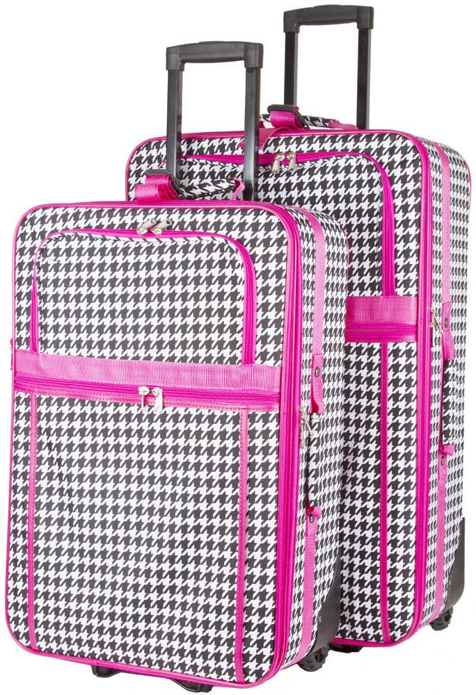 houndstooth expandable 2 pc piece luggage set