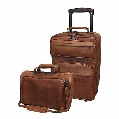Amerileather Leather 2-piece Carry-on Luggage Set Brown Larg