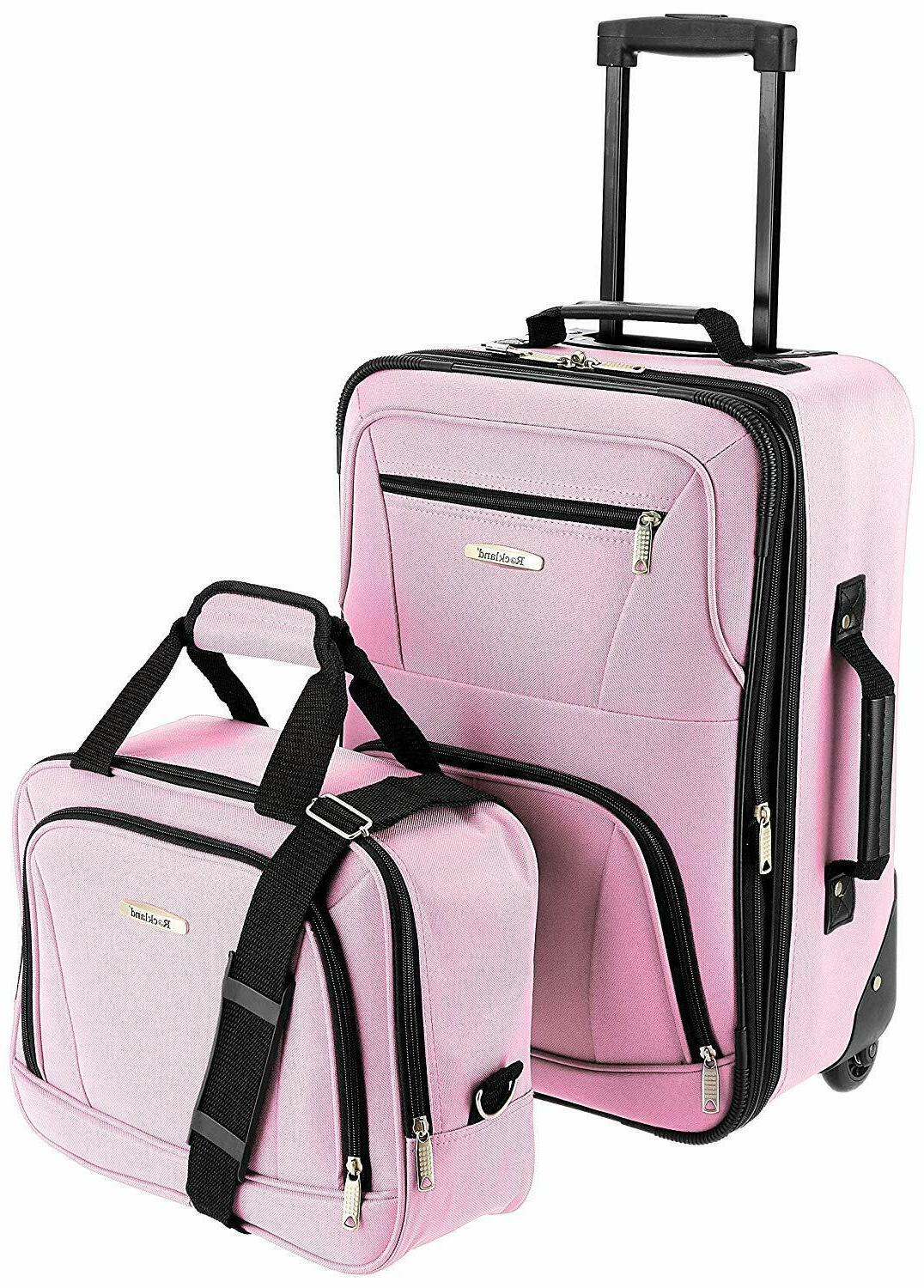 luggage 2 piece set pink one size