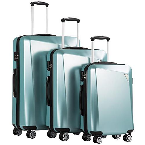 luggage 3 piece sets pc abs spinner