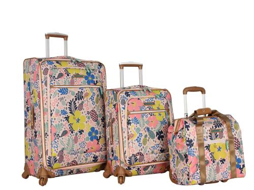 Lily Bloom Luggage 3 Piece Softside Spinner Suitcase Set Col