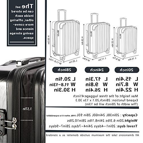 Coolife Piece Suitcase inch inch