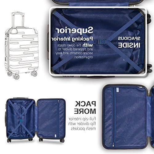 Coolife Expandable Suitcase 3 Piece TSA