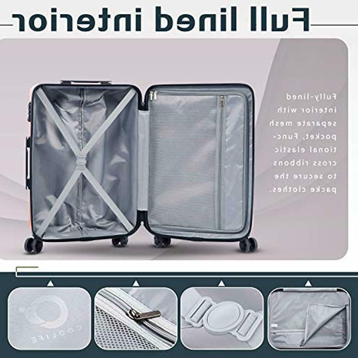 Coolife Luggage Expandable Suitcase PC+ABS 3 Set with