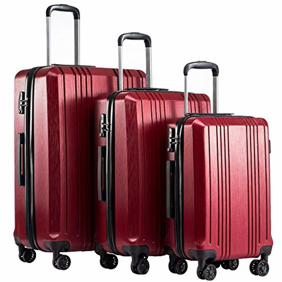luggage expandable suitcase pc abs 3 piece